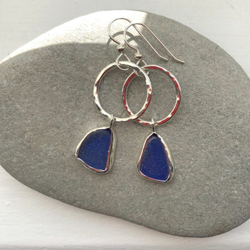 Blue Earrings with Circle - Silver and Silk
