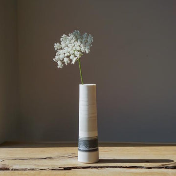 Stormy Grey Porcelain Stem Vase