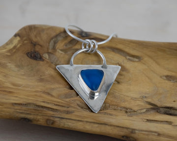 Triangle Necklace - Silver and Silk