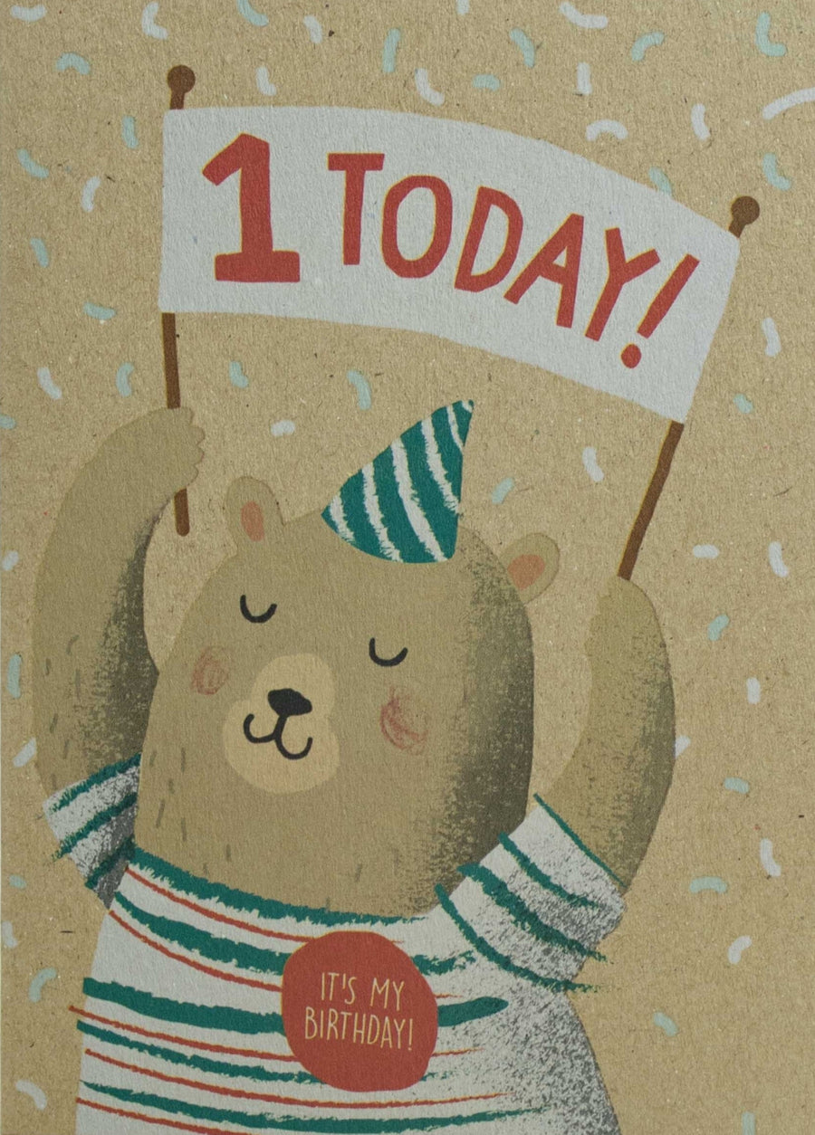 1st Birthday Bear Card