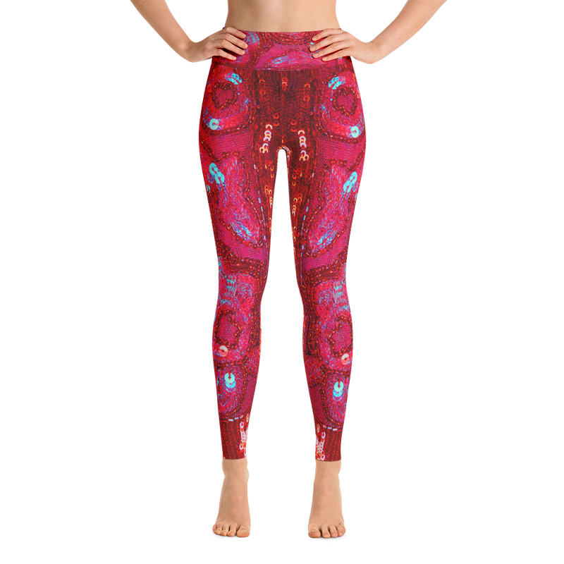 Red Sequin Print Yoga Leggings By Ventcri.com - Ventcri