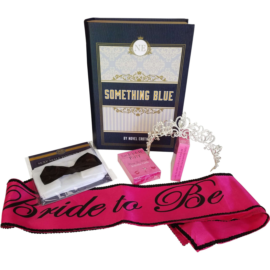 Something Blue Bachelorette Party Kit w/Tiara Sash Veil Dare Game Male Dancer Costume