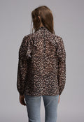 Coco Blouse - back -The Coco combines pretty ruffles with the perfect leopard print. Reclaimed semi-sheer chiffon. Made in the UK.