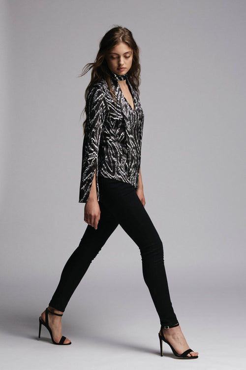 Finn Top - Structured printed top with neck tie, medium-weight reclaimed satin. Made in the UK
