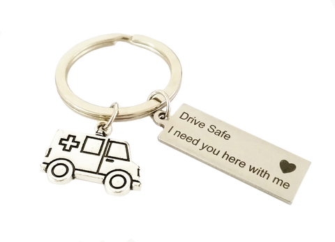 Drive Safe Ambulance Keychain
