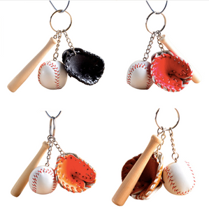 1, 6 or 12 Pcs Baseball Ball, Bat & Glove Keychain