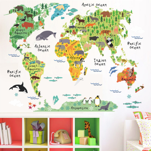 Colourful Animal World Map Wall Stickers
