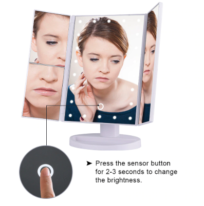 LED Touch Screen Makeup Mirror With Magnification