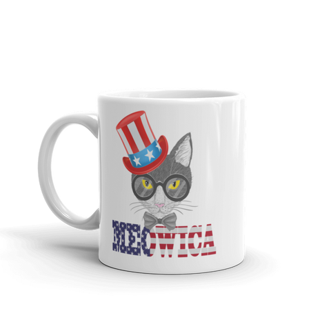 Gray Cat With Hat on Side USA Mug