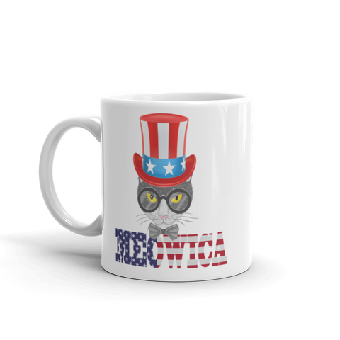 Gray Cat With Big Hat USA Mug