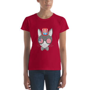 Gray Cat With Hat & Sunnies Women's Tee