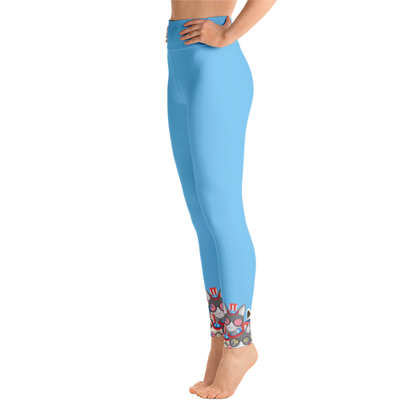 USA Cats on Bottom Yoga Leggings