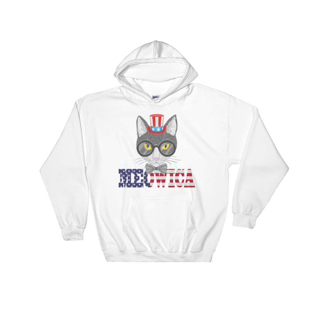 Gray Cat With Hat USA Hoodie