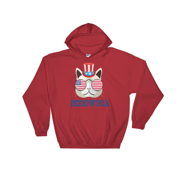 Funky Cat With Hat & Sunnies USA Blue Hoodie