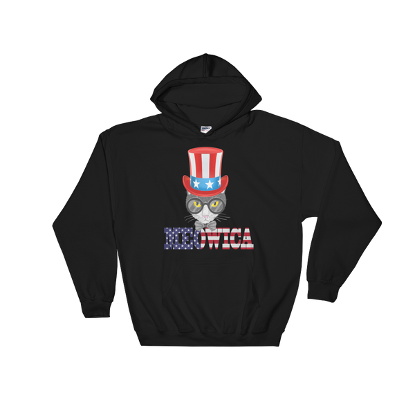 Gray Cat With Big Hat USA Hoodie