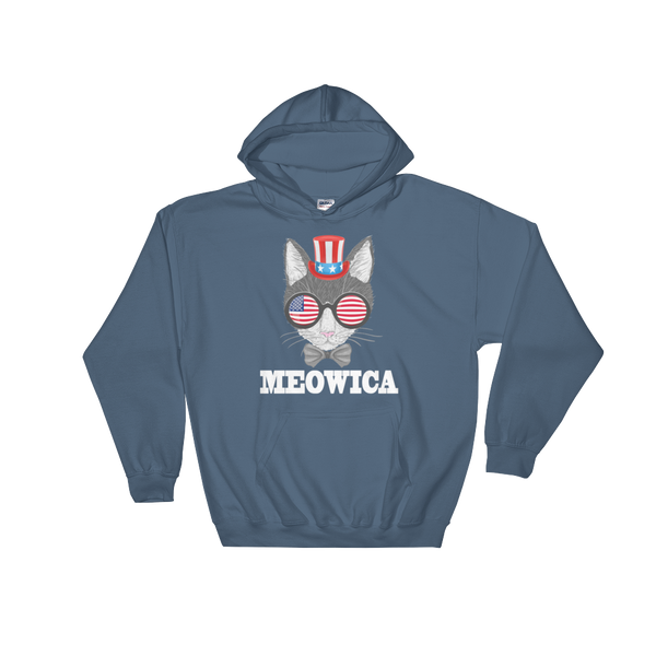 Gray Cat With Hat & Sunnies USA White Hoodie
