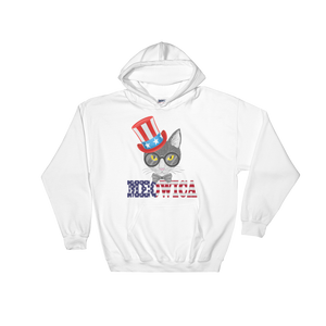 Gray Cat With Hat on Side USA Hoodie