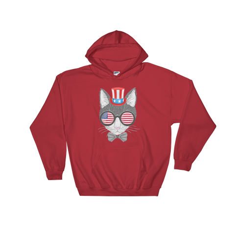Gray Cat With Hat & Sunnies Hoodie