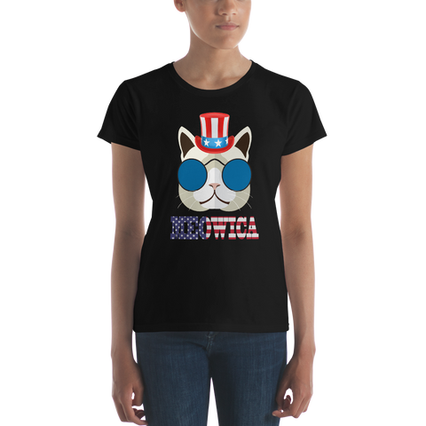 Funky Cat With Hat USA Women's Tee