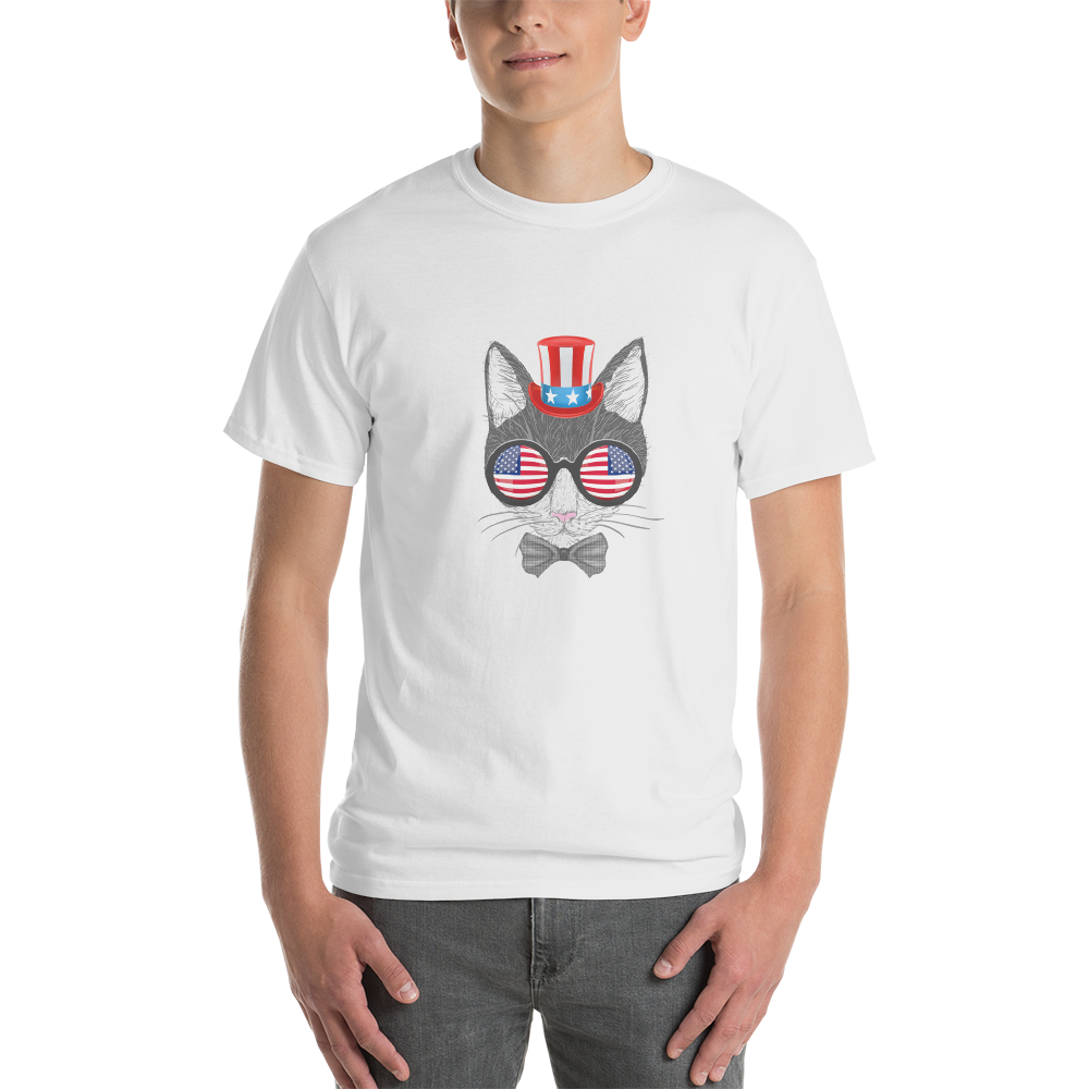 Gray Cat With Hat & Double Sunnies Men's Tee