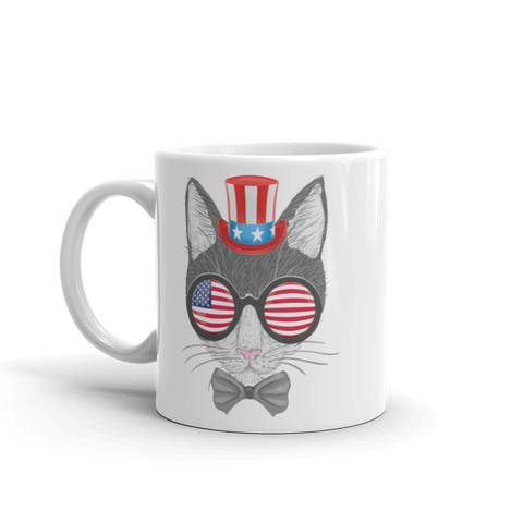 Gray Cat With Hat & Sunnies Mug