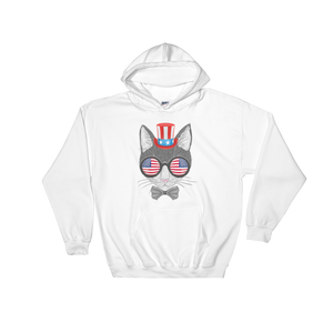 Gray Cat With Hat & Double Sunnies Hoodie