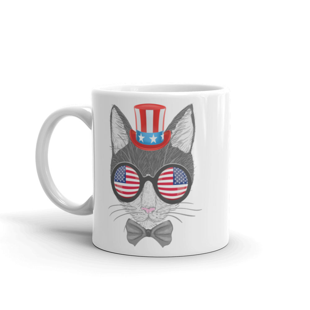 Gray Cat With Hat & Double Sunnies Mug