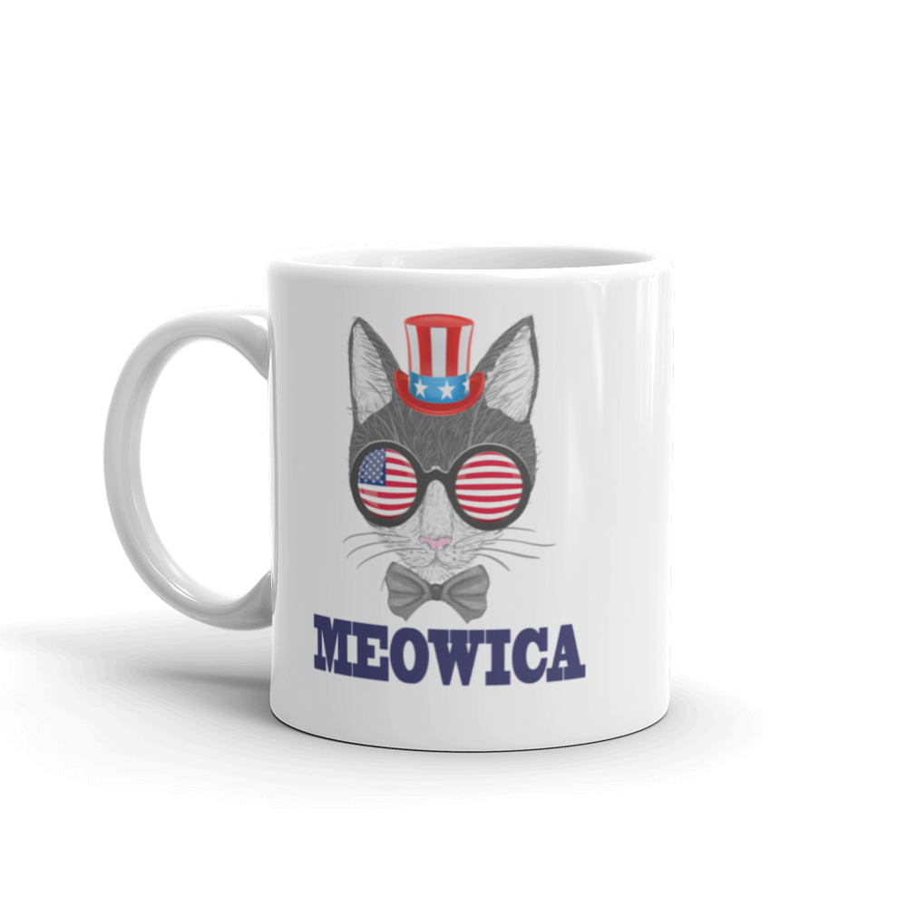 Gray Cat With Hat & Sunnies USA Blue Mug