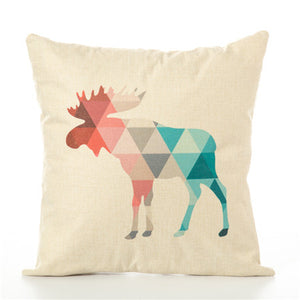 Colourful Geometric Animal Pillow Cases