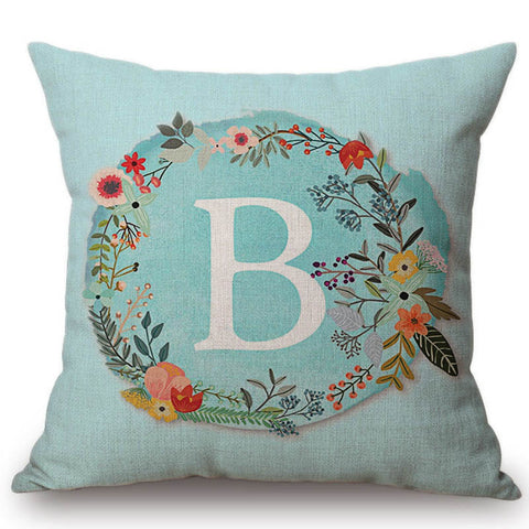 Aqua Blue Flower Letter Pillow Cases