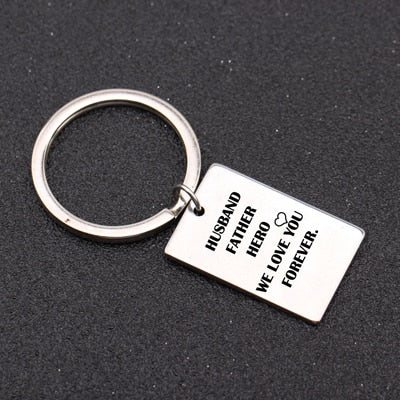 Husband Father Hero Keychain