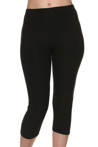 """Basic Black"" Honey Butter Capri Length Leggings"