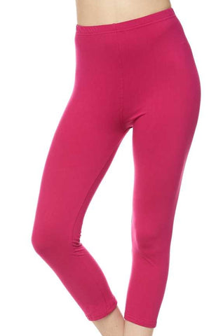 """Basic Fucshia"" Capri Leggings"