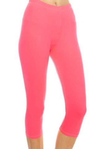 """Basic Neon Pink"" Capri Leggings"
