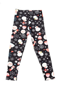 """Dizzy Snowmen"" Youth Leggings"