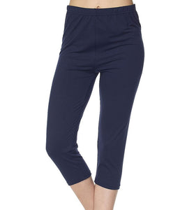 """Basic Navy"" Honey Butter Capri Length Leggings"