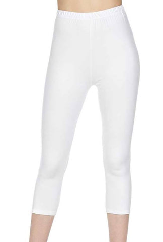 """Basic White"" Capri Leggings"