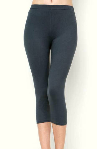 """Basic Charcoal"" Capri Leggings"