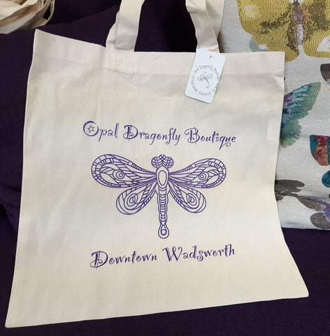 """Opal Dragonfly Boutique"" Canvas Shopping Tote"