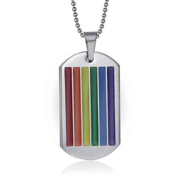 SALE Rainbow Leather Surfer Necklace With Pewter Pride Dog Tag Gay Lesbian