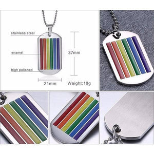 Rainbow Gay Necklace Dog Tag - LGBT Necklaces - gaypridehub
