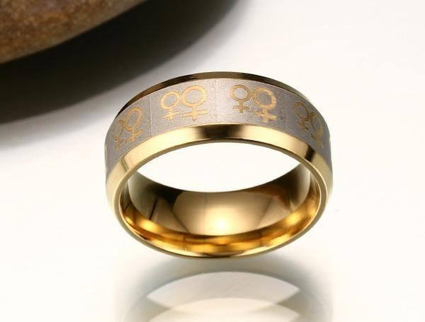 Gold Ring Lesbian Love Symbols - LGBT Pride Jewelry Couple