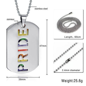 Pride Rainbow Dog Tag - LGBT Jewelry - Gay and Lesbian Pride Necklace - gaypridehub