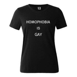 "Pride T-shirt ""Homophobia is Gay"" - LGBT Community Support Tee Shirt - gaypridehub"