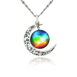 Rainbow Galaxy Moon - Gay Necklace - gaypridehub