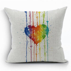 Rainbow Heart Pillow Cover - LGBT Gay And Lebian Pride - gaypridehub
