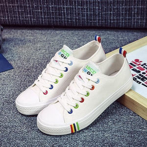 Women Canvas Shoes Rainbow Pride - LGBTQ Lesbian Love - gaypridehub