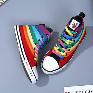 Women Rainbow High-top Canvas Shoes - LGBT Lesbian Love And Pride - gaypridehub