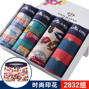 Mens Underwear Boxers Fashion printed Men Underpants Boxer Shorts Modal Male Panties Pouch Sheath Underpants vetement homme 4pcs