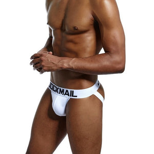 JOCKMAIL Brand Sexy Men Underwear Jock Straps Cotton G Strings Thong Gay Penis Low Rise Jockstraps Brief Bikini Backless Buttock